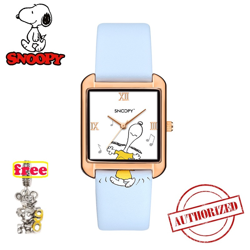 Genuine Top Brand Snoopy Watch women watch classic men watch kid watch square Casual Fashion Quartz