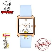 Подлинный Топ бренд Snoopy часы женские часы классические мужские часы детские часы квадратные повседневные Модные кварцевые наручные часы snw829