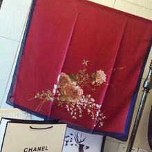 hot deal buy hijab winter simple but elegant high-grade emulation silk female flowers decorated shawls is prevented bask in beach towels
