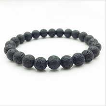 Glamour Natural Black Lava Rock Beads Fashion Bracelet Women Mens Strand Healing Balance Chakra Yoga Accessories