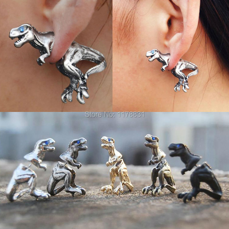 Hot sale gold sliver rose punk cool 3d cuff earring stereo beast dinosaur animal stud earrings