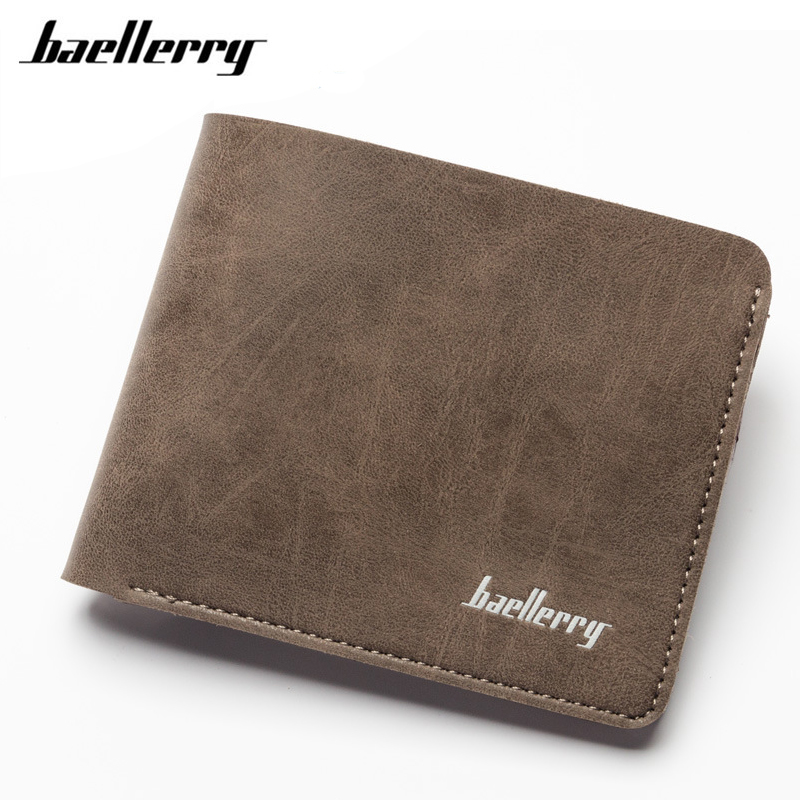Baellerry 2017 Vintage Men Wallets Brand Logo Bifold Horizontal Zipper Male Wallet Coin Purse Thin Clutch Leather Wallet Purse japan anime katekyo hitman reborn wallet cosplay men women bifold coin purse
