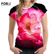 FORUDESIGNS Womens Clothing Tops & Tees Pink t shirt Women 3D Floral Harajuku Tshirt Elegance Ladies tee Shirt Gorgeous Summer