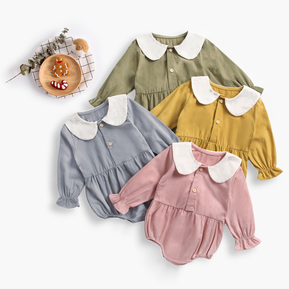 baby girl romper clothes 2019 long sleeve cotton peter pan