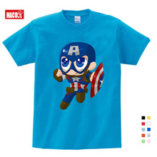 girls baby clothes for summer Cartoon Print Tee Tops For Boy Girls Clothing Captain America Funny lovely Kids T Shirt 3-15 years girls cartoon print tee