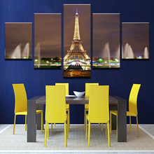 Canvas Prints Paintings Wall Art Home Decor 5 Pieces Eiffel Tower Fountain Night Landscape Pictures Living Room Poster Framework