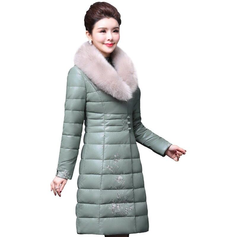 Le La Plus Veste Vers Down Broderie Femelle Pu Black Manteau Long Vestes Colour caramel Coton purple Chaud D'hiver Bas Nouveau Cuir Taille Femmes Épaissir 2019 green rrZUdqwHn