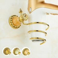 Three styles Brass wall mounted Storage Air Duct Frame Natural Jade Gold Hair Dryer Rack American Bathroom Hardware Accessories