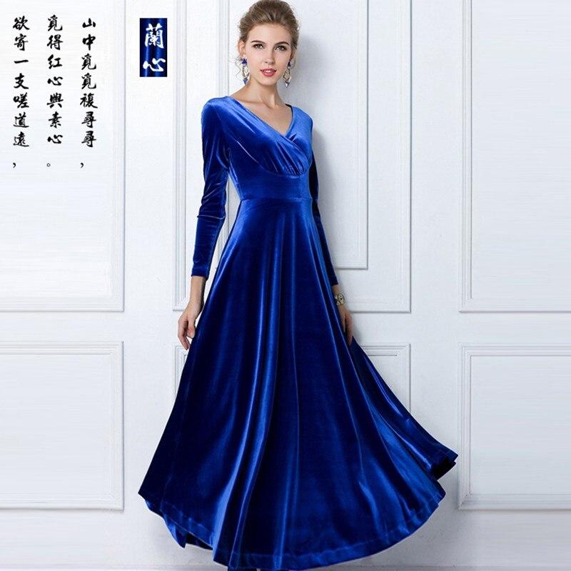2014 outono e inverno quente venda elegante vestido cheio veludo ultra longo vestido de uma peça vestido de decote em v