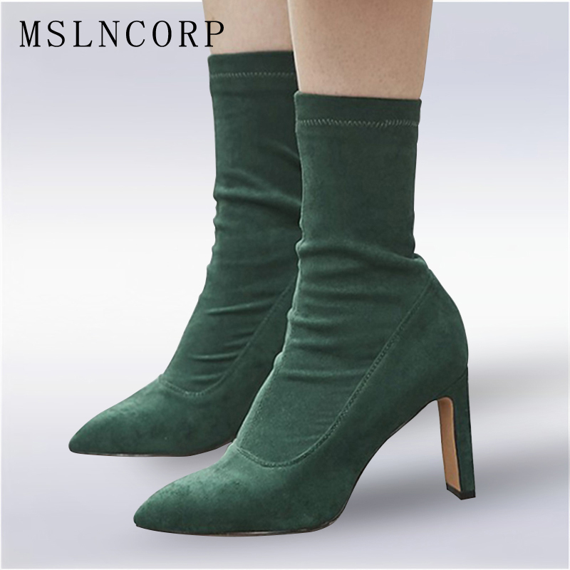 Plus Size 34-43 Elastic Stretch Fabric Pointed Toe High Heels Slip On Ankle Boots Women Pumps Stiletto Botas Mujer Party Shoes