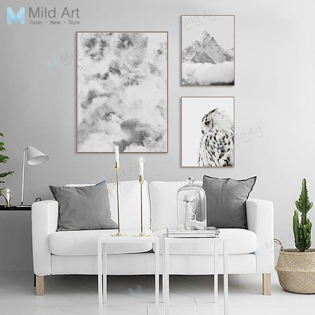 Black and White Mountain Eagle Photo Poster Prints Cloud Landscape Wall Picture Nordic Style Home Decor Canvas Painting Custom