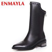 Motorcycle Boots Genuine Leather Style Half Knee High Boots Rivet For Women Winter Thin Heels Shoes