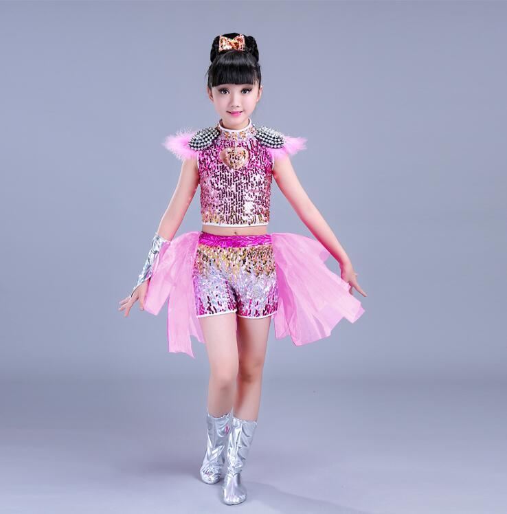 Детская одежда с блестками для бальных танцев, джаз, хип-хоп, сценическая одежда, костюмы для выступлений, одежда, топ, рубашка, шорты, сценическая одежда для мальчиков и девочек, танцевальные костюмы - Цвет: Белый