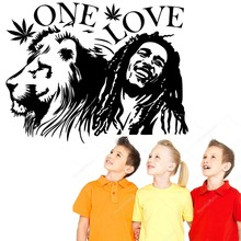 Wall Stickers Muraux Bob Marley Lion Zion ONE LOVE Marijuana Quote Art Sticker Vinilos paredes Living Room Decor NY-308