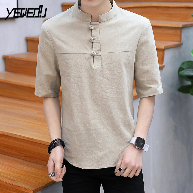 #4465 2018 Summer Half sleeve T shirt men Fashion Vinage Stand collar Chinese style Cotton and linen tee shirt Plate buckle 5XL