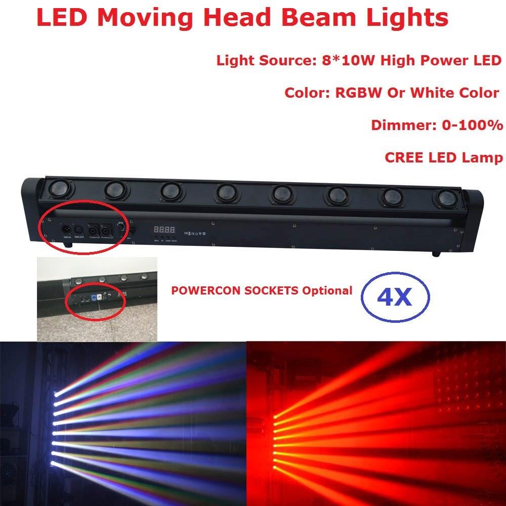 4XLot plus récent 8X10W faisceau barre principale mobile lumières RGBW ou couleur blanche en option équipements d'éclairage professionnel de scène DHL navire