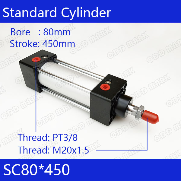 SC80*450 Free shipping Standard air cylinders valve 80mm bore 450mm stroke SC80-450 single rod double acting pneumatic cylinder bore 80mm 400mm stroke iso6431 sc double action pull rod type stardard pneumatic cylinder air cylinder sc80 400