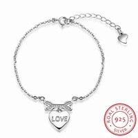 Free Shipping Hot Sale 925 Sterling Silver Bracelet Charms Bone Hanging Heart Friendship Bracelets Men Jewelry