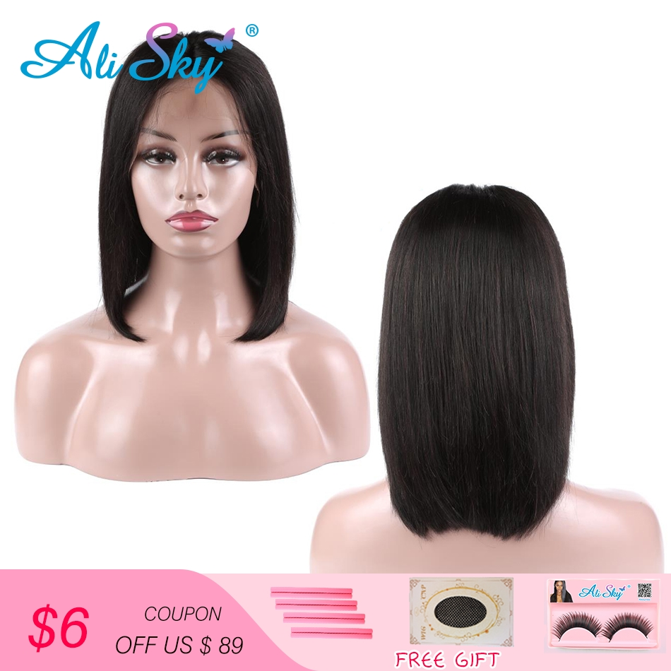 Ali Sky Short Lace Front Human Hair Wigs Brazilian Bob Wig with Pre Plucked Hairline Lace