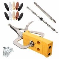 Mini Pocket Hole Drill Jig Slant Hole Jig Locator Guide Kit Woodworking Power Hand Tools 9mm