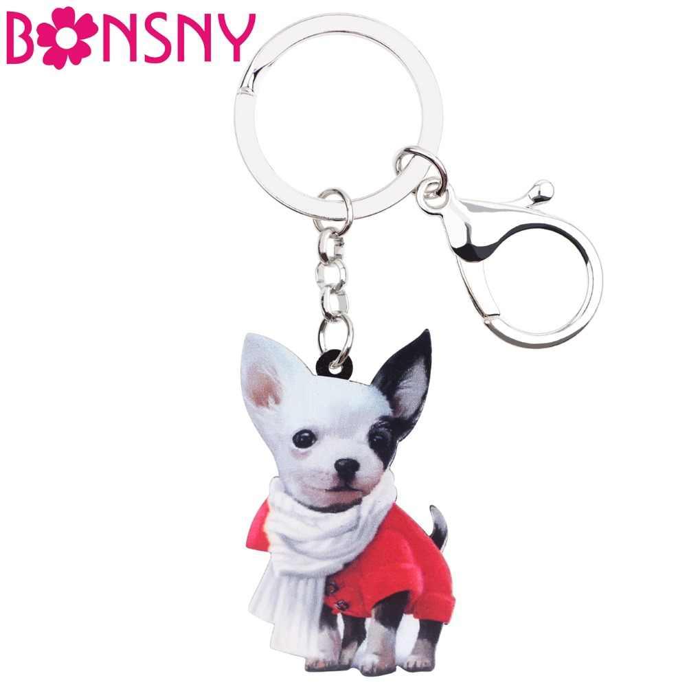 Bonsny Acrílico Anime Cachecol Chihuahua Cão Chaveiro Chaveiro Anéis Moda Jóias Para As Mulheres Das Senhoras Da Menina Bolsa Encantos animais de Estimação Em Massa