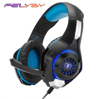 FELYBY GM 1 head mounted gaming headset with microphone 3.5+USB for PS4 wired headset