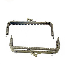 10Pcs Vintage Handbag Coins Purse Rectangle Frame Kiss Clasps Double Layers Clutch Bronze Tone Handle 15.4x6.8cm