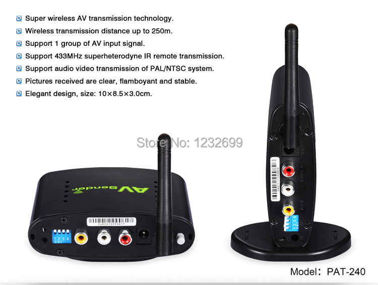 2.4G Design STB Wireless Transmitter and Receiver with IR Remote Extender Model PAT-240-3.jpg