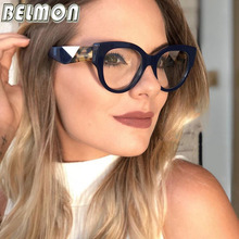 Belmon Optical Eyeglasses Women Fashion Prescription Spectacles Frames Leopard Transparent Clear Lens Eyewear RS811