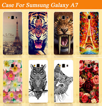pattern case for Samsung Galaxy A7 diy hard cover cartoon plastic painted flower Eiffel Towers animals case for Galaxy A7 case