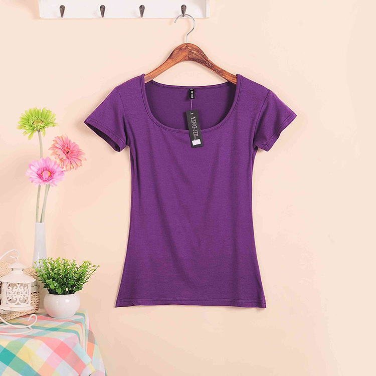 Базовые Стрейчевые топы размера плюс,, Летний стиль, короткий рукав, футболки для женщин, u-образный вырез, хлопок, женские футболки, повседневные футболки - Цвет: W00630 purple
