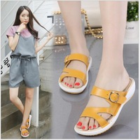 Summer women flat sandals Shoes 5 colors Genuine Leather beach slippers round toe comfortable sandals flip flops female shoes