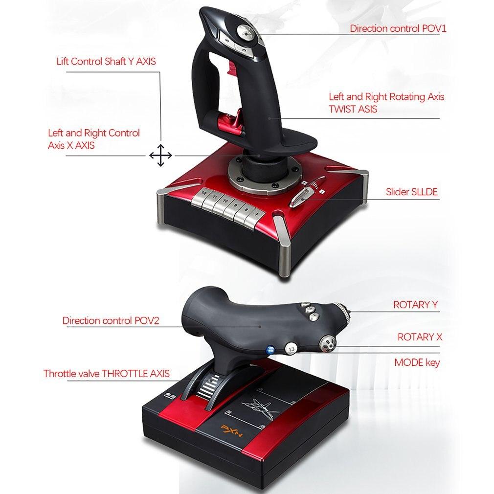 PXN-2119II palanca para vuelo Joystick USB Simulador de GamePad controlador de juegos fr PC - 3