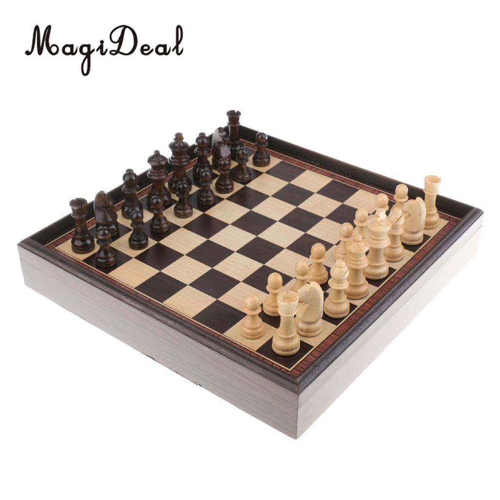 MagiDeal Classic 3 In 1 Wooden International Chess Set Board Travel Puzzle Games Backgammon Draughts Children Adult Gift