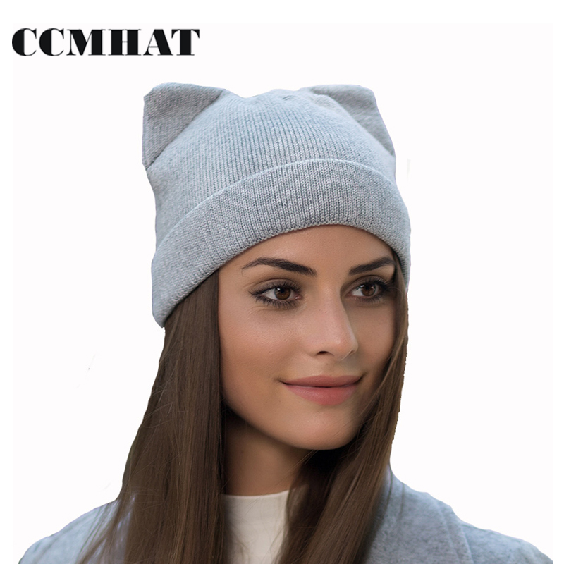 CCMHAT Cat Ears Skullies Beanies For Women Hat Cap Winter Warm Elasticity Knit Beanie Hat Caps Cotton Balaclava Girls Winter Hat skullies