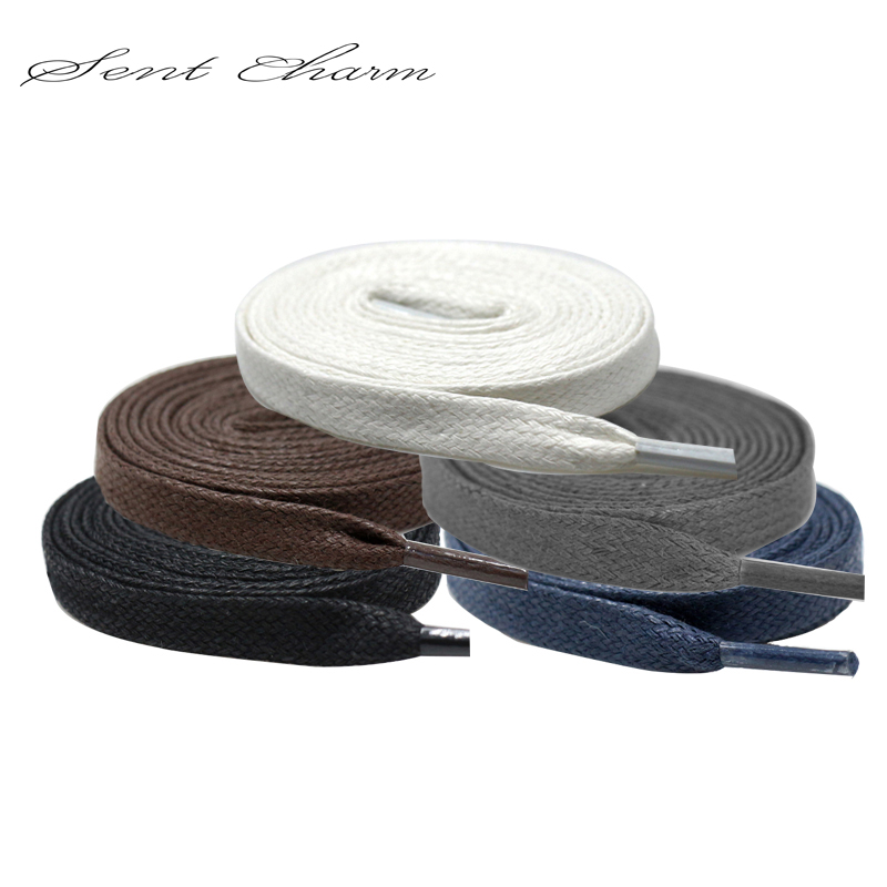 180CM Premium SENTCHARM Flat Waxed Shoelaces Cotton Shoe Lace Width Shoestring Cord For Unisex Shoes Boots String As Gift LT017