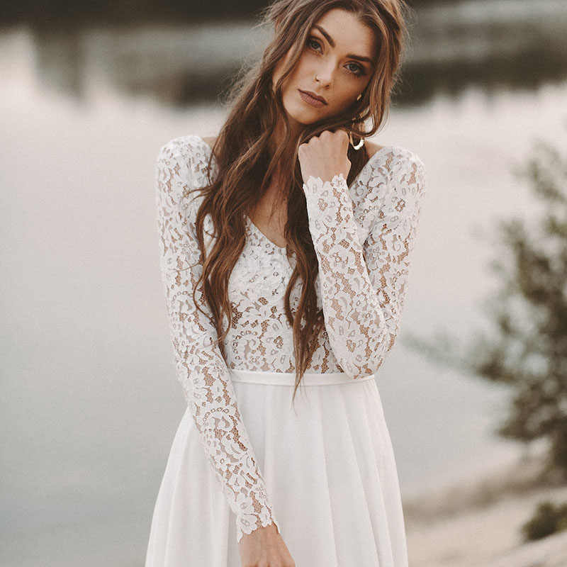 LORIE Do Casamento de Praia Vestido Boho V Pescoço Aberto Para Trás vestidos de noiva de Manga Comprida 2019 Chiffon Princesa Lace Chiffon Do Vestido de Casamento novia
