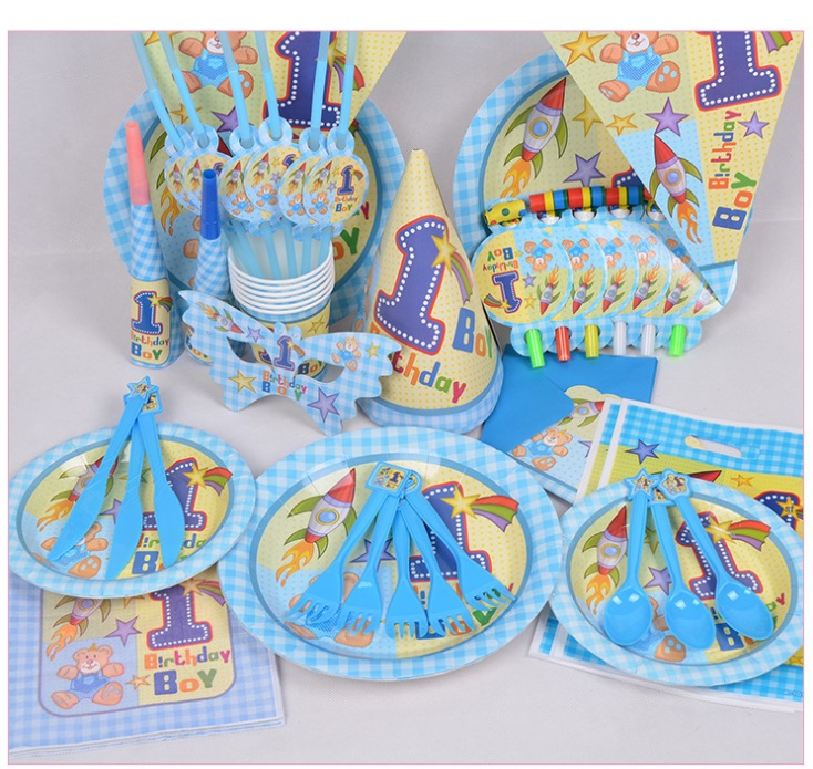 People Decorating For A Party 90pcs/1 year old boy theme package decorating supplies 6 people