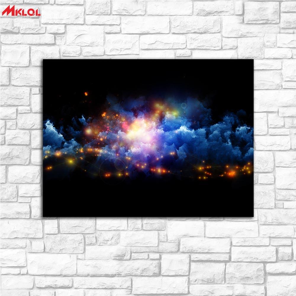 Duża sztuka kolor chmura symfonia malarstwo malarstwo do salonu dekoracji wnętrz obraz olejny na płótnie malarstwo ścienne bez fram
