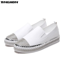 TINGHON NEW Bling Women flat espadrilles bling crystal loafers ladies knitted platform fisherman shoes summer