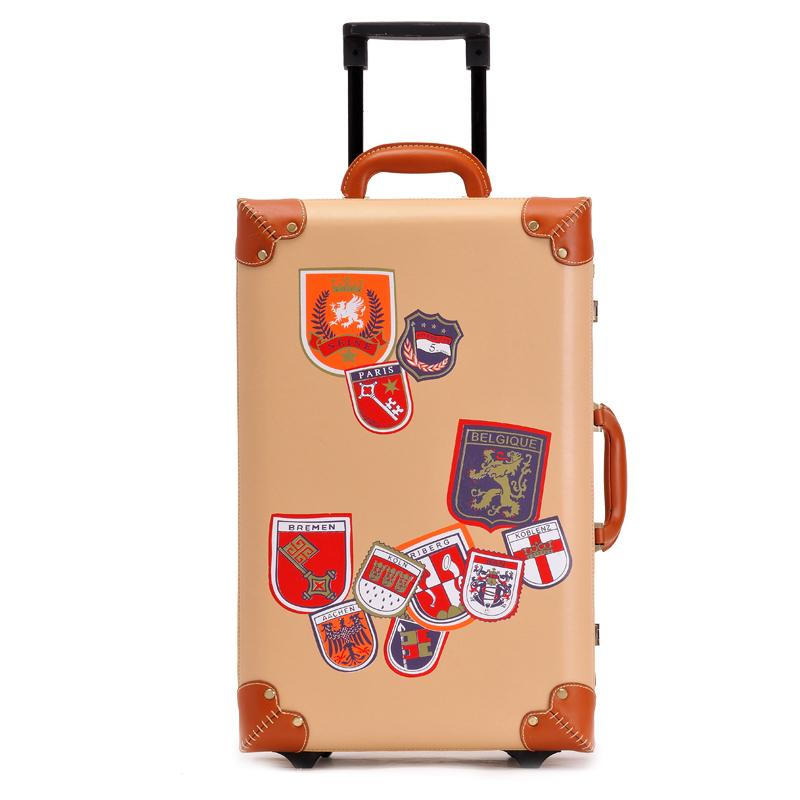 UK label fashion style vintage pu leather trolley luggage,22 inches male and female retro travel suitcase on universal wheels