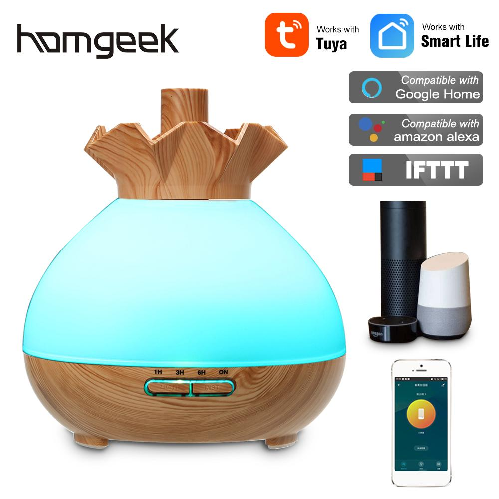 Smart Wifi Wireless 400ml Aroma Essential Oil Diffuser Ultrasonic Air Humidifier 7 Color LED Lights Phone App And Voice Control
