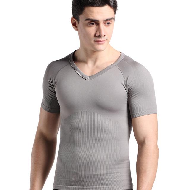 Homens de manga curta ginecomastia shapewear tops abdômen controle de emagrecimento shaper sem costura camisola