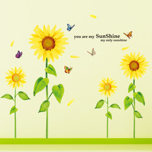 You Are My Sunshine My Only Sunshine Flower Sunflower Fashion Removable Wall Stickers PVC Art Home Room Decor Mural Stickers