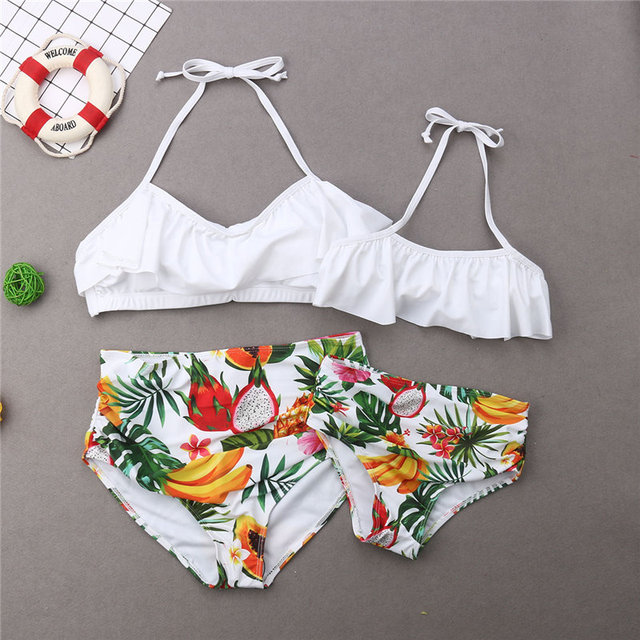 Family Matching Swimwear Mother Father Kids Fruits Print Swimsuit Women Girls Bikini Men Boys Trunks Bathing Suit Beachwear