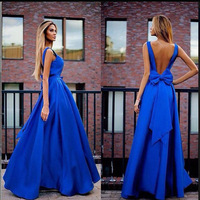 Bow Open Back Evening Dresses Ladies Sexy V Neck Backless Party Gowns Classical Solid Satin Long Formal Dress Women Elegant 2018