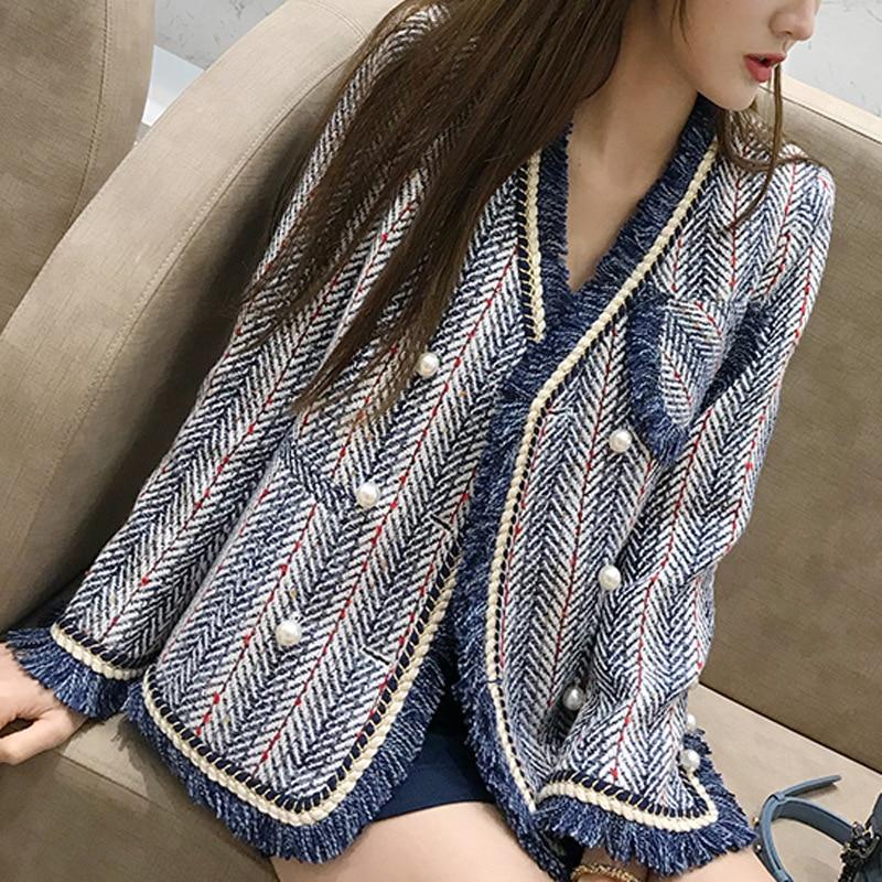 Femmes Femenino Perlé Vestes Mode Bleu Laine De Manteaux Breasted Blazer Automne Tweed Kohuijoo Double wq5Z7T7