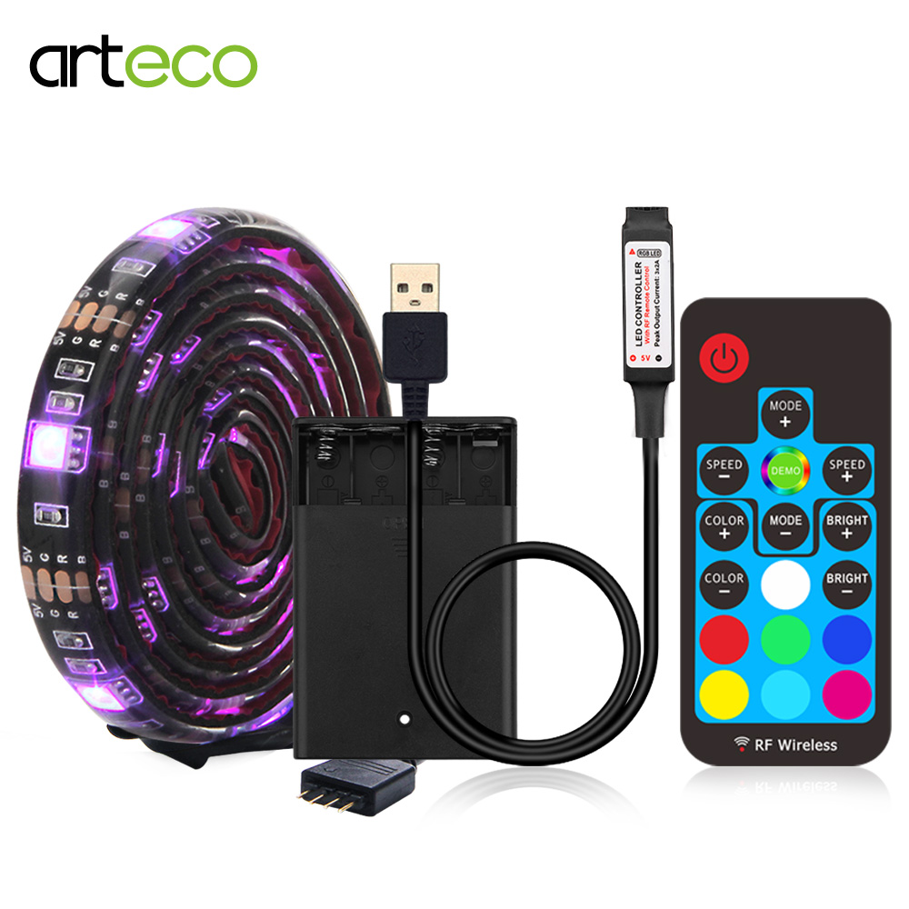 Battery powered LED Strip Bluetooth <font><b>5050</b></font> RGB 1M 2M IP20 IP65 <font><b>USB</b></font> Led Strip 17 Keys Led Ribbon Tape For Bicycle TV Back Lighting image