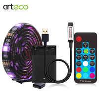 Tira LED con batería Bluetooth 5050 RGB 1M 2M IP20 IP65 tira Led USB 17 teclas cinta Led cinta para iluminación trasera de TV de bicicleta