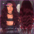 Brazilian Human Hair Glueless Wig T1B/Burgundy Ombre wavy Free Part Full Lace Wig Two Tone ombre lace front human wig